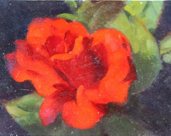 Original 5x7 Oil Painting A Rose by Any Other Name Academic Impressionist Single Rose Chiaroscuro Painting Dark Background Flower Floral Art