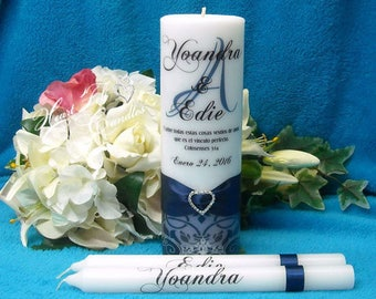 Wedding Ceremony Set - Ornate Flourish Monogram Unity Candle - Unique Unity Set - Personalized Candles