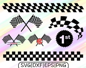 Racing Flags SVG, Champion Flag SVG, Racing Flag Cut File, Race Flag monogram, 1sr place Svg, Racing Flag Cricut, Racing Flag Dxf, Flag File