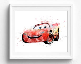 Cars mcqueen prints, disney art print, Disney pixar cars, lightning mcqueen, Watercolor Poster Print, Pixar Watercolor, Kids room decor gift
