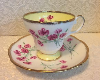Vintage Cup & Saucer Footed EB Foley England Pink Carnations