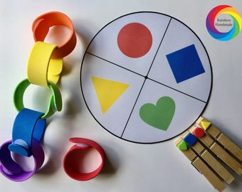 Rainbow Velcro Chain Busy Bag, Learning Shapes, Montessori Toddler Activities, Toddler Busy Bag, Travel Busy Bag, Gift for Kids