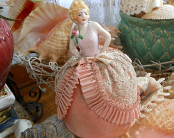 Antique Half Doll Pin Cushion - Vintage Coquette