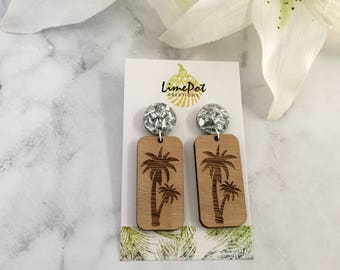 Rectangle Wooden Earrings