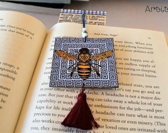 Handmade Bookmark // Appreciation Gift // Greek Bee ornament // Librarian Gift // Friendship Bookmark // Thank you Gift