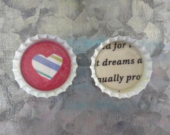 Love and Dream Bottle Cap Magnets