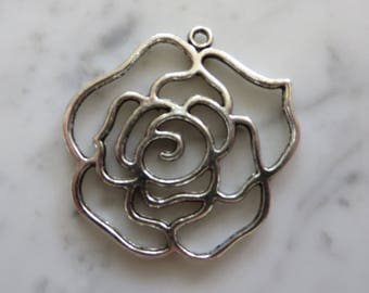 Rose Bloom Charm Pendant Jewelry Making Bead Supply