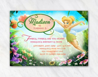 Tinker Bell Invitation for Birthday Party - Disney Fairy Fairies Tinkerbell Tink Peter Pan- Printable Digital File