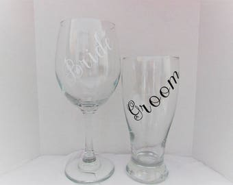 Bride & Groom Wine Glass and Beer Glass ; bride and groom, his and hers, wedding glasses , wedding gift ,