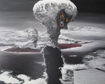 Hiroshima Bomb oil canvas artwork