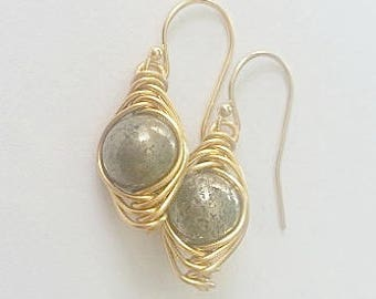 Pyrite & Gold Wire Wrapped Earrings