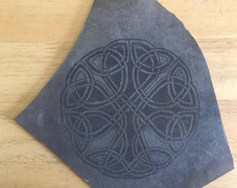 celtic shamrock laser etched on thin flat rock