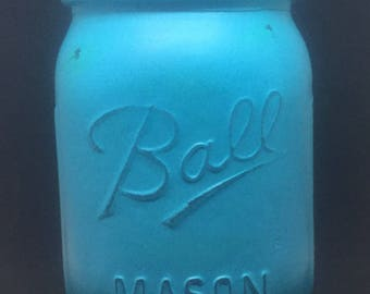 Painted Mason Jar Soy candles  8oz or 16 oz distressed in Tidal Blue you choose fragrance: cotton, beachy, moonlight, hazelnut latte & more