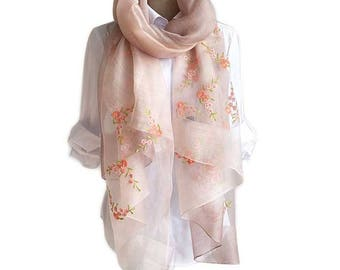 New Fashion Spring & Summer Embroidered Silk Scarf Plain Transparent Shawl Wedding Gift for Women
