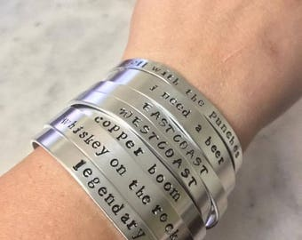 Custom Metal Stamped Bracelet Cuff // Girlfriend Gift // Birthday Present // Custom Made // One of a Kind