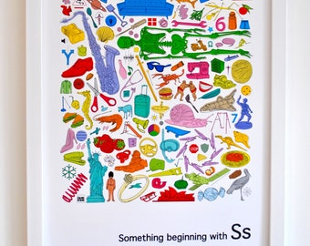 Personalised nursery wall art, Alphabet print, 'Something beginning with S' design