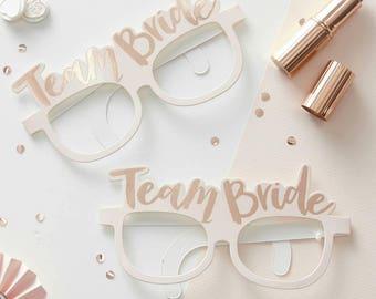 Pink & Rose Gold Team Bride Glasses, Hen Party Glasses, Bachelorette Props, Bridal Party Glasses