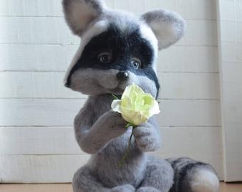 Needle felted raccoon, raccoon felting, felting wool, raccoon toys, needle felted art, adult toys, wool felt, Toy as a gift, eco toys, OOAK