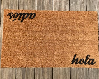 Hola / Adios Door Mat (doormat) - Spanish - Perfect Housewarming Gift