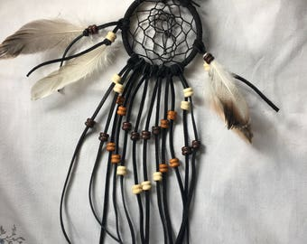 Native American black leather dream catcher, handmade