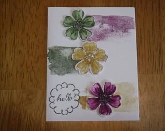 Hello - blank card flowers