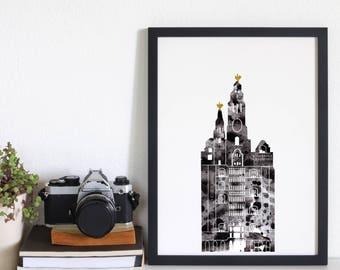 Liver Building Print Black