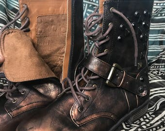 Steam punk combat boots 8.5