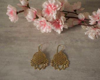 Flower of life, earring, fleur de vie, brass