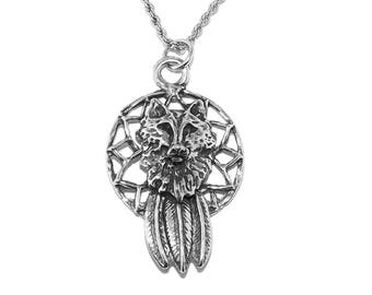 Pewter Pagan Wolf Dreamcatcher Pendant Necklace with Chain