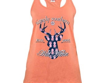 Simply Southern Wild Within Deer Poppy Orange Scalloped Tank Top T-Shirt