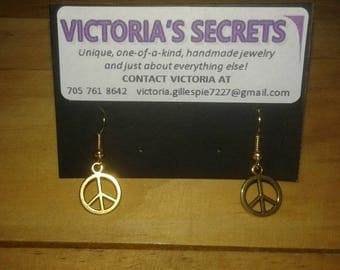 Gold Colour Peace Sign Earrings