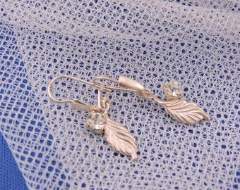 Vintage Sweet Silver Leaf Cubic Zirconia Earrings