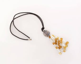 Pendant with natural stones and leather lace. Single piece / Tasselled Stone Pendant with braided leather lace. One of a kind piece