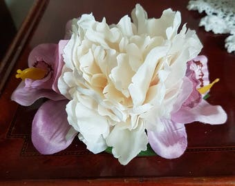 Cream peony and double lilac orchid hair flower