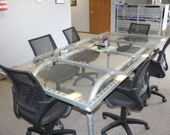 Custom Industrial Steel and Glass Conference/ Dining Table