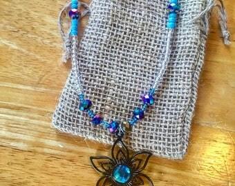 Custom Made Blue Flower Beaded Necklace