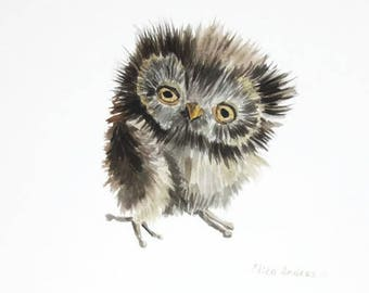 ORIGINAL watercolor painting, Owl painting, Baby Nursery, Wall Art, Wall Decoration, Bird watercolor, cute owl, funny owl painting, owl art