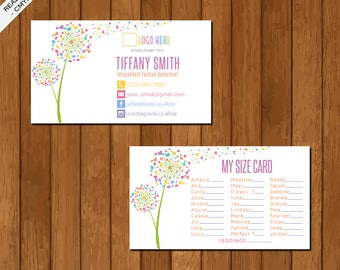 LLR My Size Card, Business card, Home Office Approved, Dandelion, Personalized, Printable Card, Marketing, Fashion Consultant Retailer 01