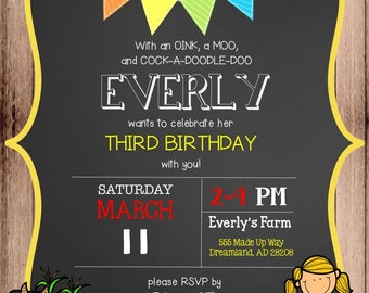Customized Birthday Invitations and Thank You Cards (Digital File)
