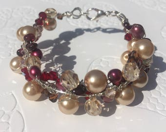Autumn Daze Garnet Pearl Swarovski and silver bracelet