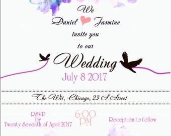 Wedding invitation template floral rustic printable