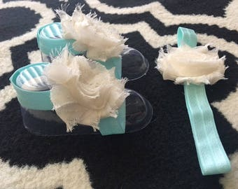 White and mint baby barefoot sandals and headband set