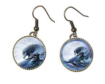 Gothic with Ravens, cabochons, brass tone metal earrings