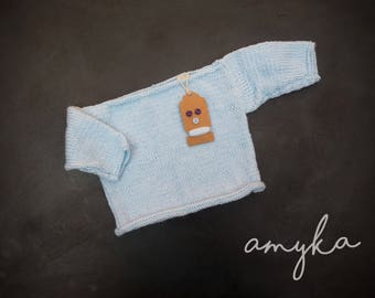 Hand knitted boat neck baby jumper / sweater / top / knit in baby/ sky blue / 3-6 months / gift
