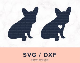 French Bulldog SVG, Frenchie SVG,  French Bulldog Cutting File, Frenchie Monogram, Design for Cricut and Silhouette, Instant Download