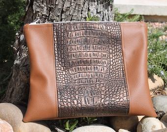 pouch - handbag - camel faux leather