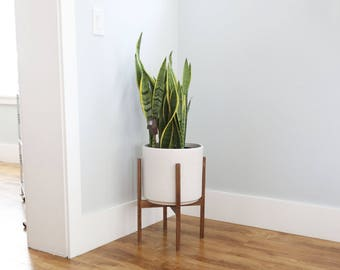 "Large - Mid-century Modern Ceramic Cylinder Planter with Walnut or Oak Wood Planter Stand - 12"" Ceramic Pot"