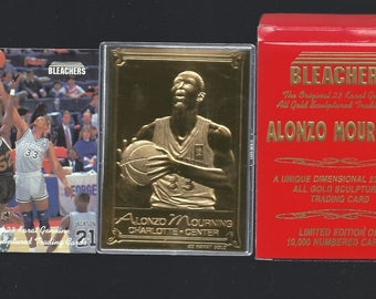 ALONZO MOURNING 1994 Bleachers 23 Kt Gold Card - 755 / 10,000 in box