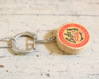 Vintage French Cheesebox  Keychain Pendant Necklace