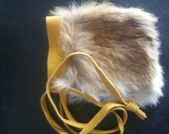 Rabbit Hair and Leather Good Luck Pouch.